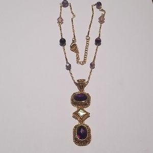 Jewelry - Lady's gold-color w/multicolored stones necklac